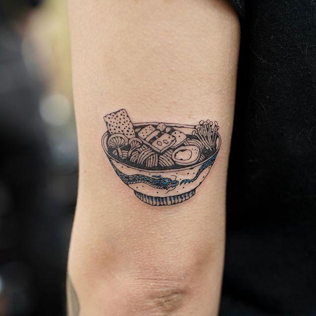 Ramen Noodle Fine Line Tattoo