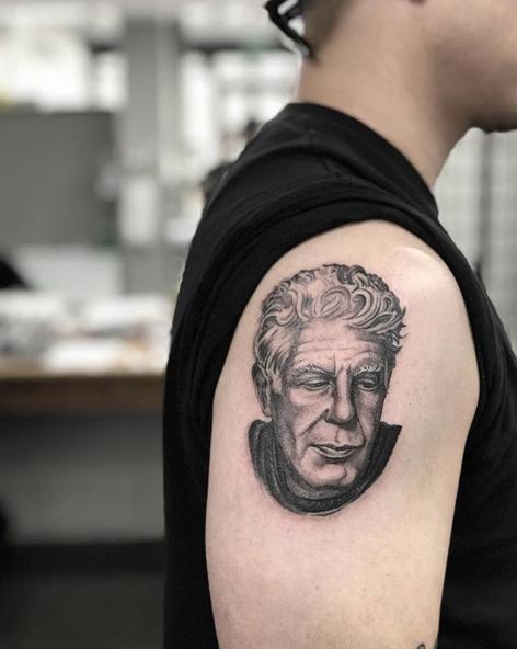 Anthony Bourdain Portrait Tattoo