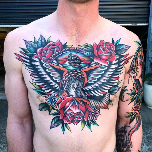 Chest Neo Traditional Tattoo