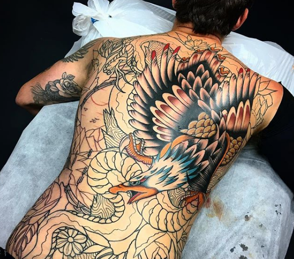 Full Back Neo Traditional Tattoo