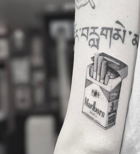 cigarette realistic tattoo
